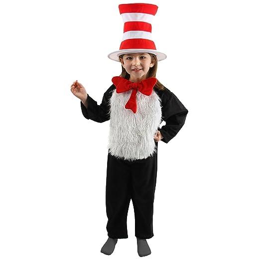 1d498821 Amazon.com: Dr. Seuss Cat in the Hat Kids (S, 4-6) Costume Jumpsuit with Hat,  Bowtie: Clothing
