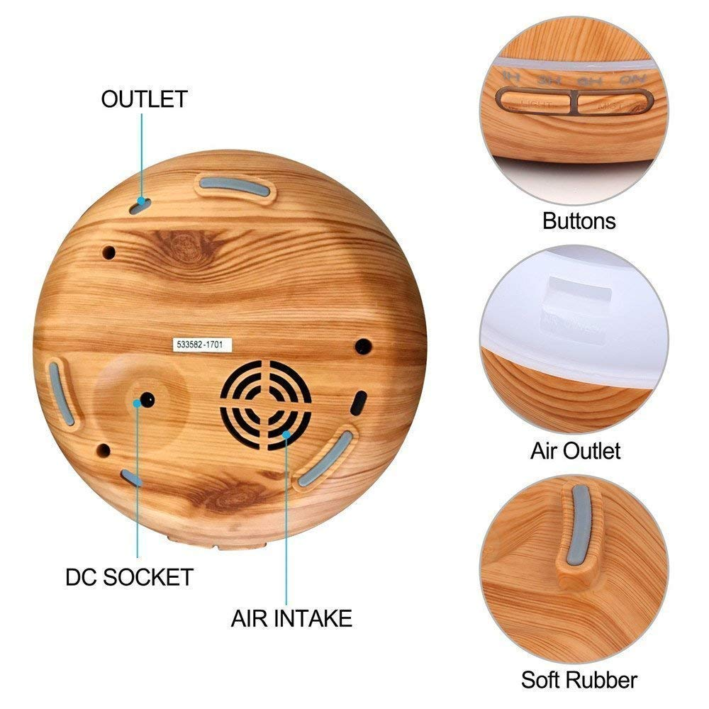 Aroma Diffuser,XPLUS Oil Diffuser Humidifier 300ml Essential Oil Diffuser Wood Grain Ultrasonic Cool Mist Humidifier for Office Home Bedroom Living Room Study Yoga Spa (Wood Grain)