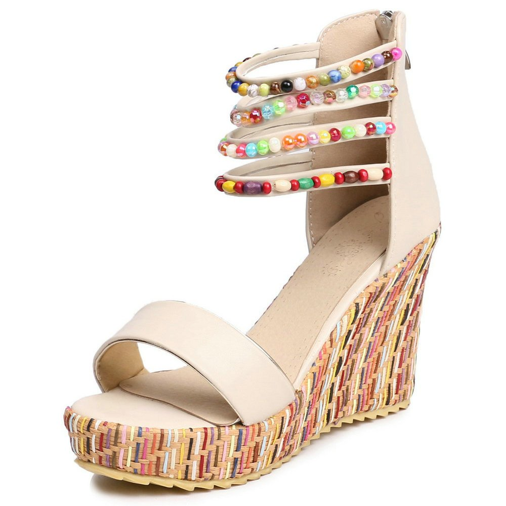 Women Wedge Sandals Fashion Platform Open Toe Summer Bohemia Strap Beaded Beads Espadrille Shoes B07CSJSSCN 9 B(M) US|Beige