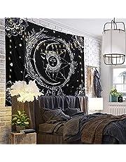 LOMOHOO Sun and Moon Tapestry Tarot Tapestry Black and White Celestial Tapestries Wall Hanging Indian Mandala Bohemian Hippy Bedroom Dorm Decor Beach Throw