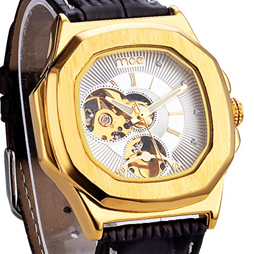 ManChDa Skeleton Mens Automatic Mechanical Wrist Watch Brown Leather White Dial Golden Movement Men