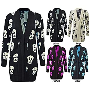 Thever Women Ladies Halloween Skull Skeleton Print Open Front Knitted Cardigan