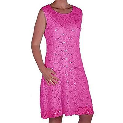 EyeCatch Oversize - Robe de soirée sans manche courte mini en dentelle stretch imprimé floral sequin - Fabia - Femme - Grandes Tailles