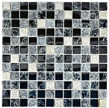 Carrelage mosaïque Translucide Gris Noir Verre Mosaïque Crystal ...
