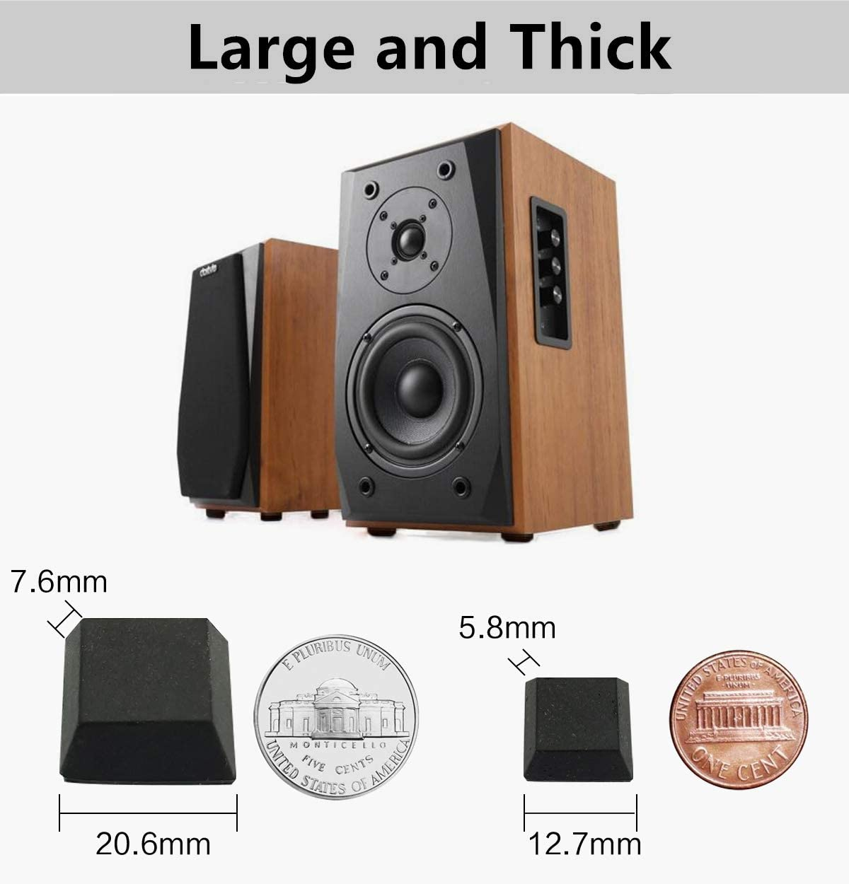20 Pieces Appliances Audio Equipment Electronics Black Tall Square Adhesive Rubber Bumper Pads Furniture Rubber Feet for Speakers Made in USA
