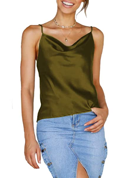 c8c9c59170752 Famulily Women Silk Cami Crop Top Summer Casual Cowl Neck Sleeveless Tank  Top with Adjustable Strap