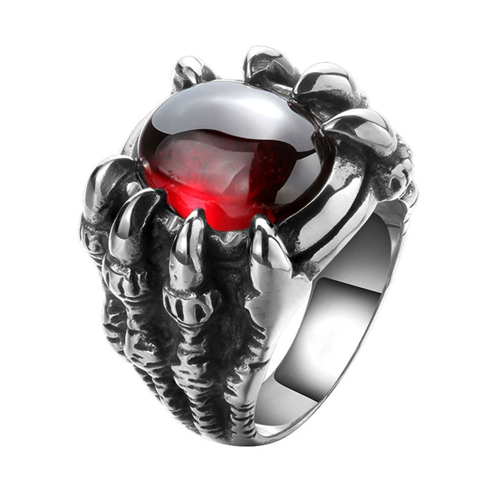 UM Jewelry Personalized Mens Gothic Dragon Claw Biker Ring Vintage Stainless Steel, Red Silver Tone cr0242