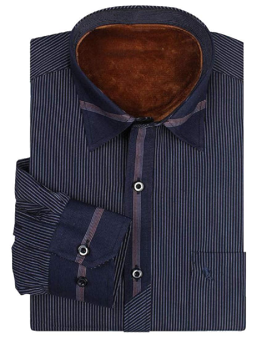 RDHOPE-Men Regular Fit Chunky Point Collar Pinstripe Woven Shirt