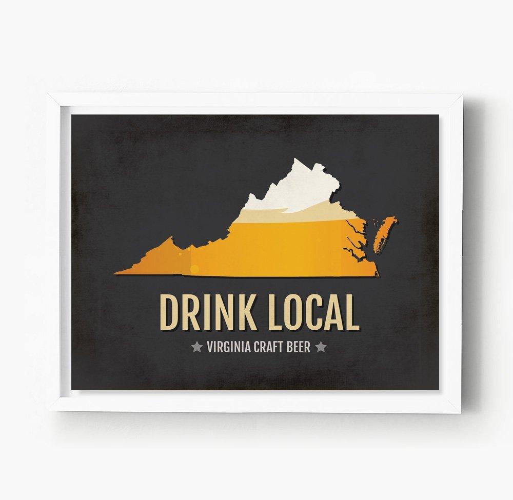 Virginia Beer Print Map - VA Drink Local Craft Beer Sign - Boyfriend Gift, Husband Gift, Beer Gift, Beer Art, Norfolk,Richmond Poster