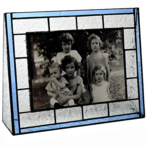 J Devlin Pic 159-57h Vintage & Pale Blue Stained Glass Picture Frame