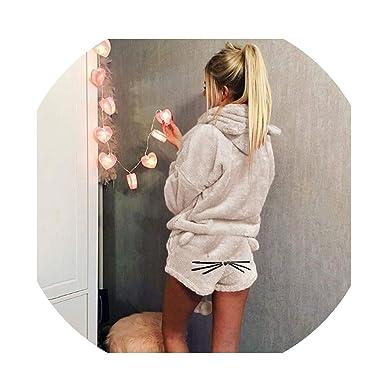 a32a2294503 Warm Fleece Pajamas Femme Sexy Lingerie Cat Pajama Mujer Sleepwear ...