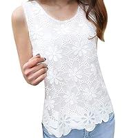 Mecohe Donna Chiffon O-Collo Pizzo Floreale Maglietta Senza Maniche Casual Canotte Bianco Estate T-Shirt Bluse