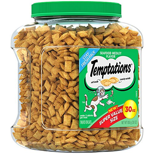 TEMPTATIONS Classic Treats For Cats Seafood Medley Flavor 30 Ounce Tub; With Our Mouthwatering Menu We Have a Flavor For Every Feline
