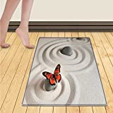 Butterfly Door Mat outside Zen Rock on the Sand Butterfly Serenity Life Cycle Nature Meditation Decor Bathroom Mat for tub Non Slip 20''x32'' Beige Orange