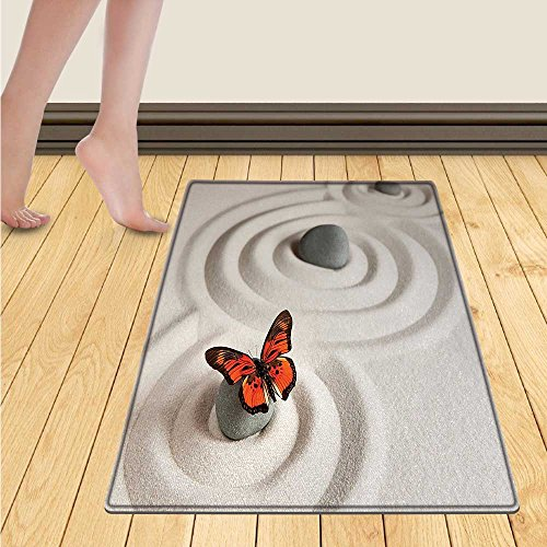 Butterfly Door Mat outside Zen Rock on the Sand Butterfly Serenity Life Cycle Nature Meditation Decor Bathroom Mat for tub Non Slip 20''x32'' Beige Orange by Chaneyhouse