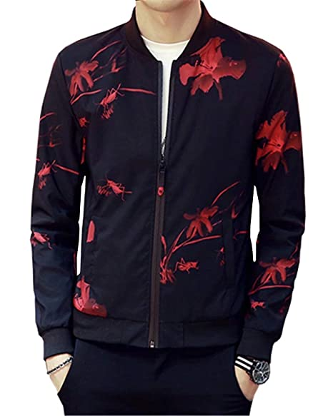 Lightweight Style /& Cotton Padded Style EMAOR Mens Casual Slim Fit Printed Jacket Coat