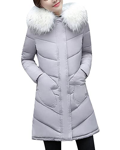 Mujer De Manga Larga Abrigo Acolchado Chaqueta Con Capucha Larga Abrigo de Slim Fit Parka