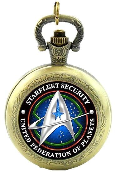 Star Trek Starfleet Collar de cuarzo de seguridad con reloj de bolsillo - efecto bronce antiguo - Caja de regalo con batería de repuesto para el frío: ...