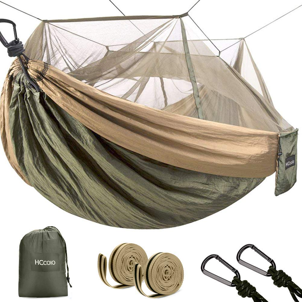 HCcolo Double Camping Hammock with Mosquito Net, 10ft Hammock Tree Straps Carabiners, Lightweight Nylon Parachute Hammocks for Camping, Travel, Beach, Hiking, Backyard Hold Up to 440lbs