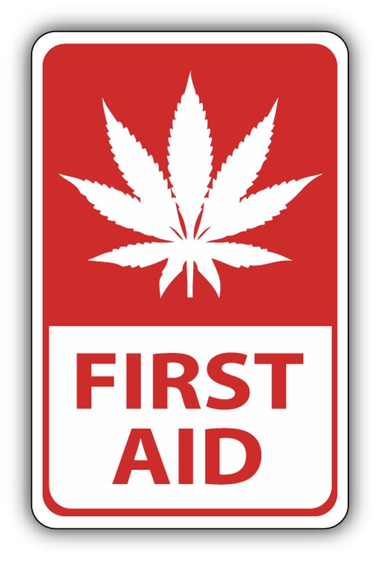 Cannabis First Aid Sticker Decal Design 3' X 5' Zirni
