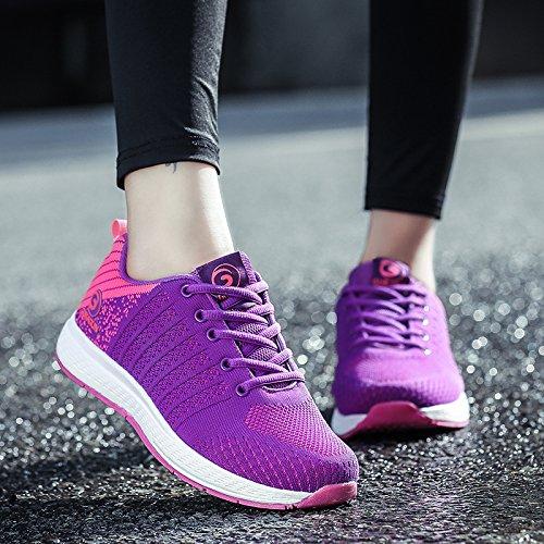 GUBARUN Mesh Running shoes Women Lightweight Casual Lace up Sneakers Sport Unisex Athletic Walking Tennis Shoes Purple/Plum Red sU38J2z
