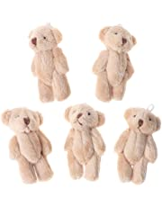 Junlinto,5PCS Kawaii Small Bears Plush Soft Toys Pearl Velvet Dolls Gifts Mini Teddy Bear Light Brown