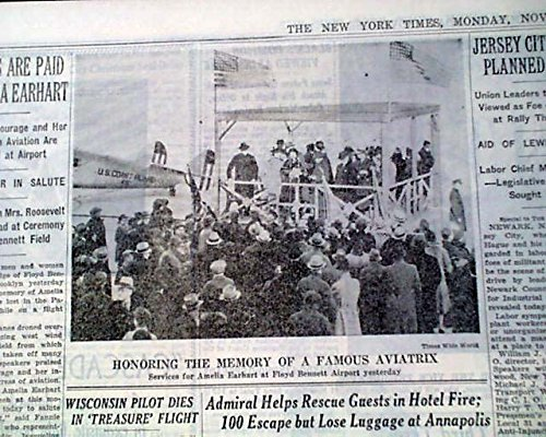 AMELIA EARHART Airplane LOST over Pacific Ocean EULOGY Death 1937 Old Newspaper THE NEW YORK TIMES, November 22, 1937.