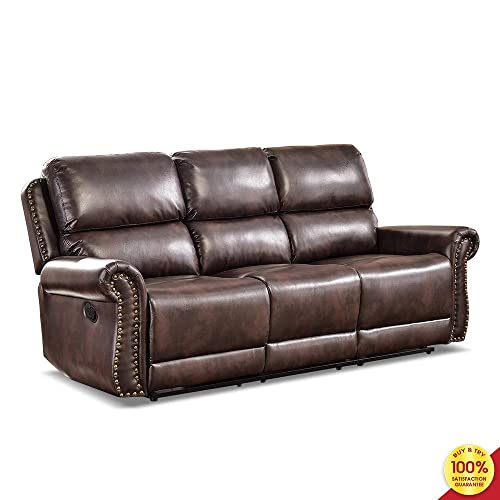Hooseng Living Room, PU Leather Couch, Manual Sofa Chair-3 Seater, Modern Recliner Home Theater Seating, Freely Adjustable, Brown-3