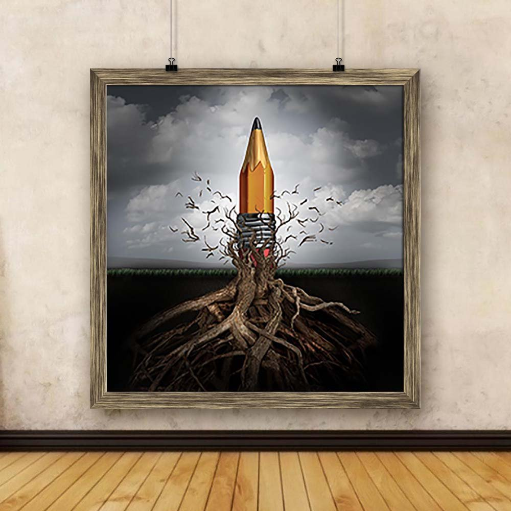 Pitaara Box Rise Of Ideas Innovation As A Pencil Canvas Painting Antique Golden Frame 14 X 14 5inch Amazon In Home Kitchen