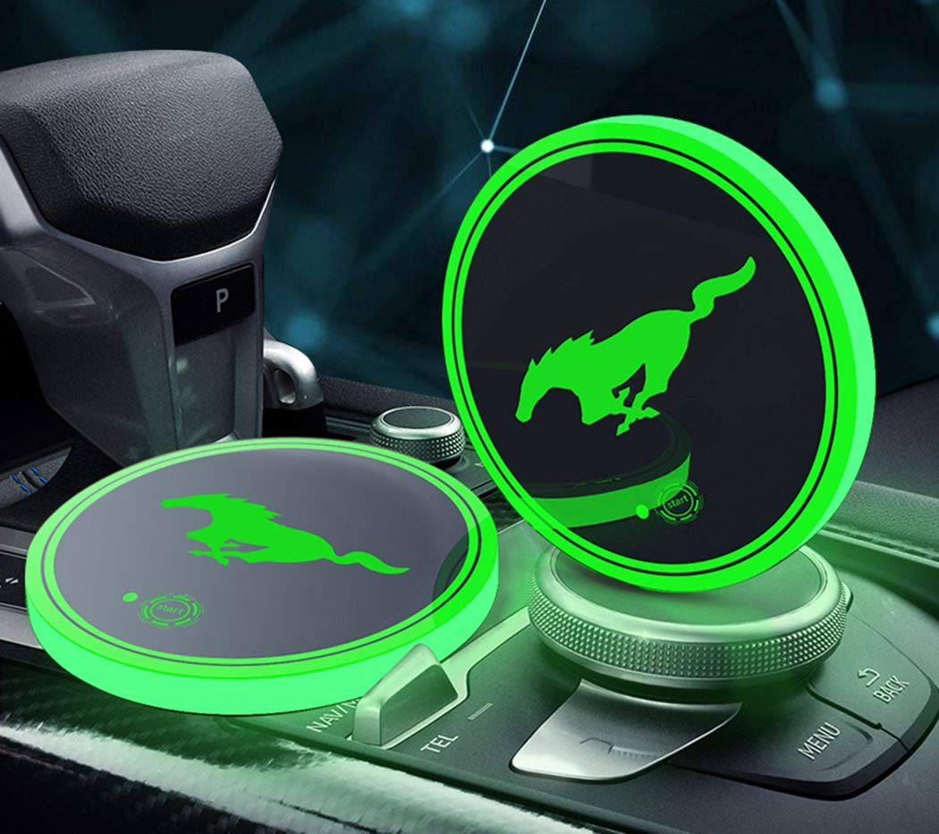 DIYcarhome LED Cup Holder Lights, Mustang Accessories Car Logo Coaster with 7 Colors Changing USB Charging Mat, Luminescent Cup Pad Interior Atmosphere Lamp Decoration Light (2 PCS)