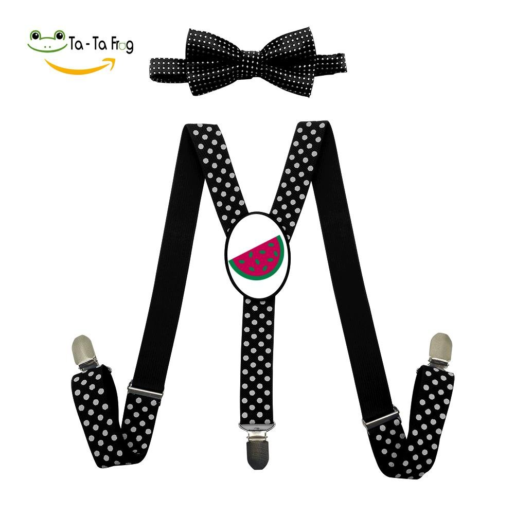 Xiacai Cartoon Watermelon Suspender&Bow Tie Set Adjustable Clip-On Y-Suspender Kids
