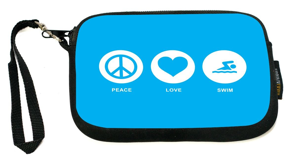 UKBK Peace Love Swim Sky Blue Neoprene Clutch Wristlet with Safety Closure - Ideal case for Camera, Universal Cell Phone Case etc.