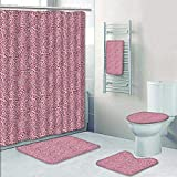 5 Piece Banded Shower Curtain Set Animal Animal Leopard Skin Girly Design Trendy ating Pink Beach Pool Decorate The Bath
