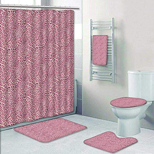 5 Piece Banded Shower Curtain Set Animal Animal Leopard Skin Girly Design Trendy ating Pink Beach Pool Decorate The Bath by Philip-home