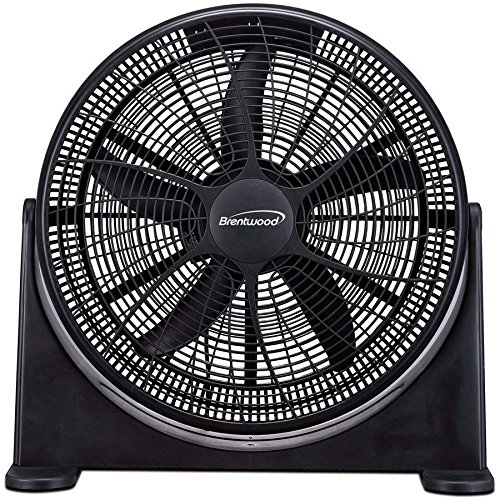 20 inch High Velocity 3 Speed Adjustable Round Floor, Table and Desk Power Fan, Black
