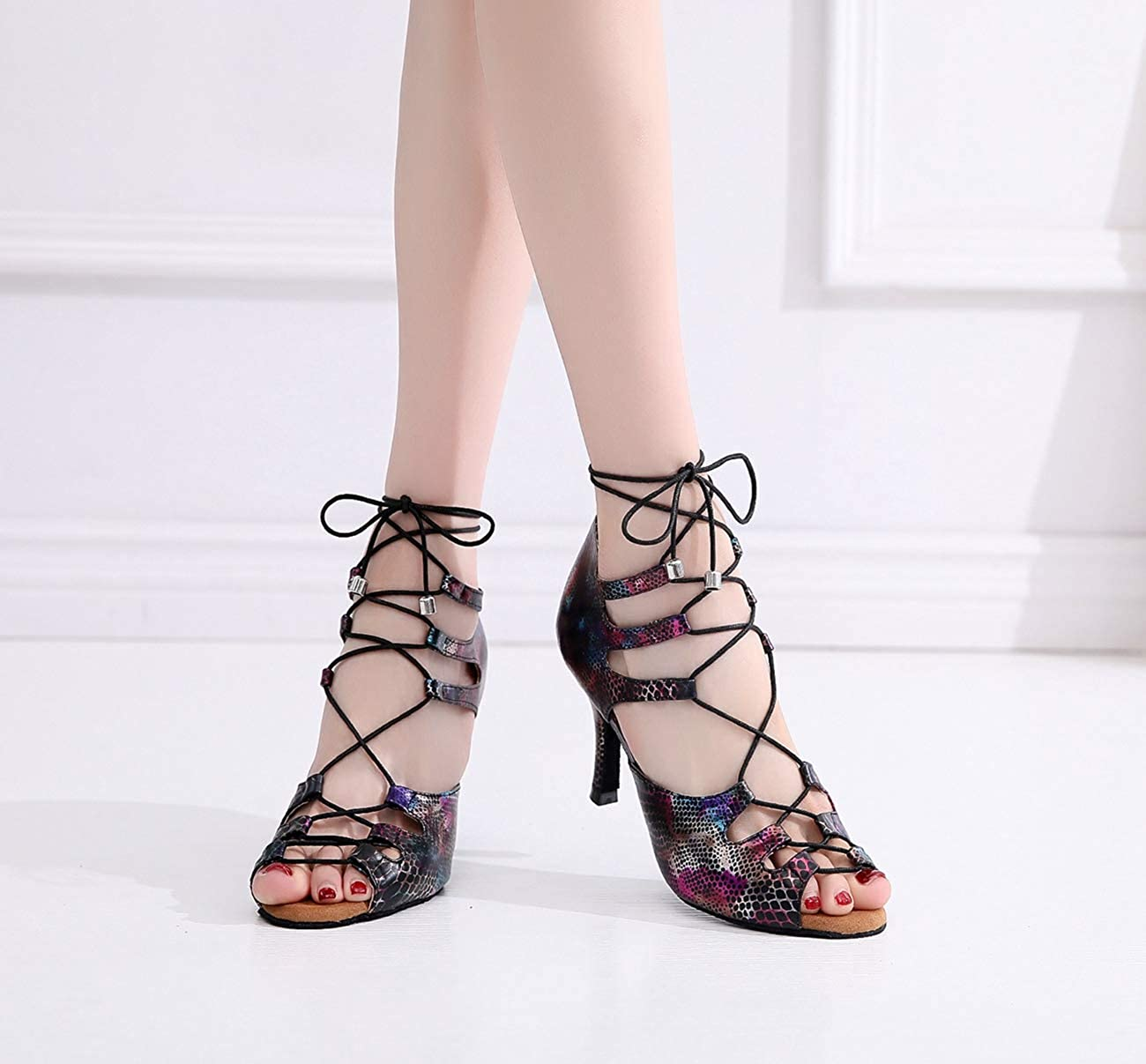Miyoopark Womens Lace-up PeeP Toe 3 High Heel Sport Dance Shoes Wedding Sandals