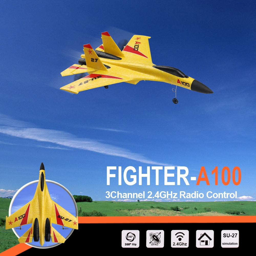 Wotryit WLtoys A100 3 Channel Remote Control Airplane, A100 SU-27 Mode 2.4 GHZ Vertical Take Off Land Delta Wing RC Flying Aircraft Toys RC Glider Indoors & Outdoors_Small Remote by Wotryit (Image #3)