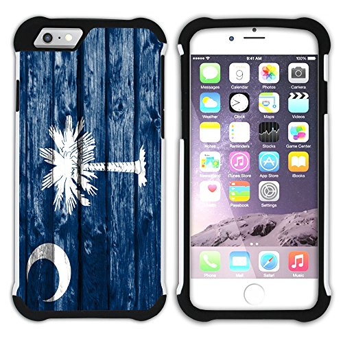 FJCases South Carolina The Palmetto State Wood Pattern Flag Shockproof Hybrid Hard/Soft 2-Layer Protection Case Cover for Apple iPhone 7 Plus/iPhone 8 Plus