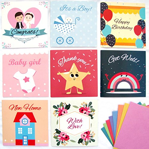 Lovely 48 Pack Assorted Greeting Cards with Envelopes, All Occasion Greeting Cards: With Love, Happy Birthday, Thank You, Congrats!, It's a Boy, Baby Girl, Get Well, New Home
