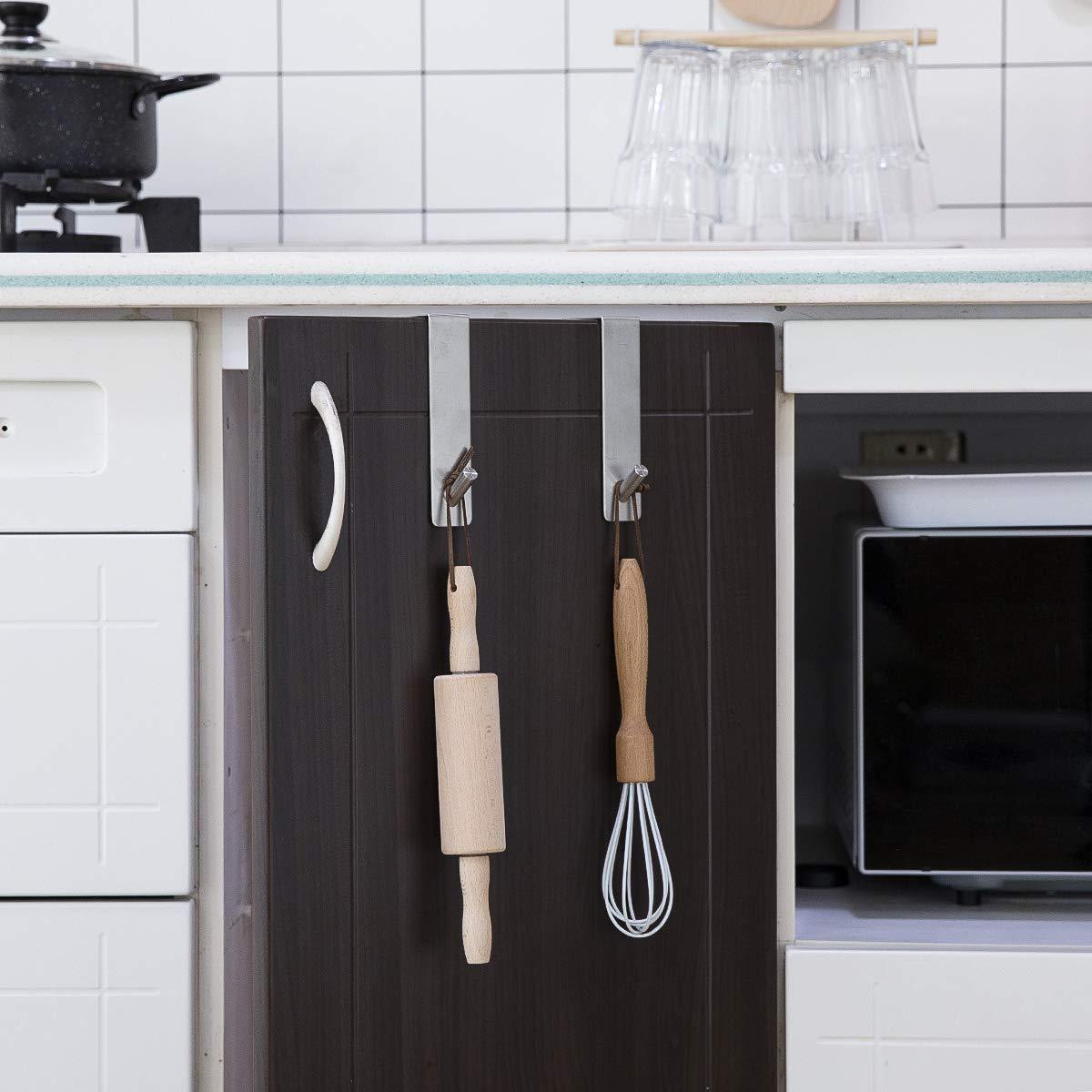 Bedroom Bathroom Kitchen Kitlit Over Door Hook Hanger Stainless Steel 2 Hooks for Coat Bag Towel Robe Hat Hook Heavy Duty Hook Hanger Rack