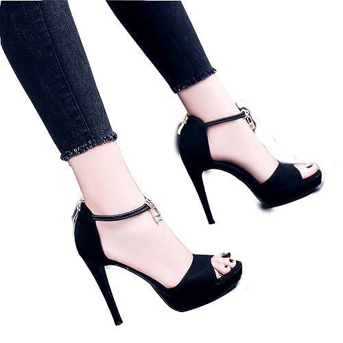 c77997ec866 Hyun Times Zapatos Negros de Verano Tacones Altos Finos con La Plataforma a  Prueba de Agua Expuestos Toe 12CM Altura  Amazon.es  Zapatos y complementos