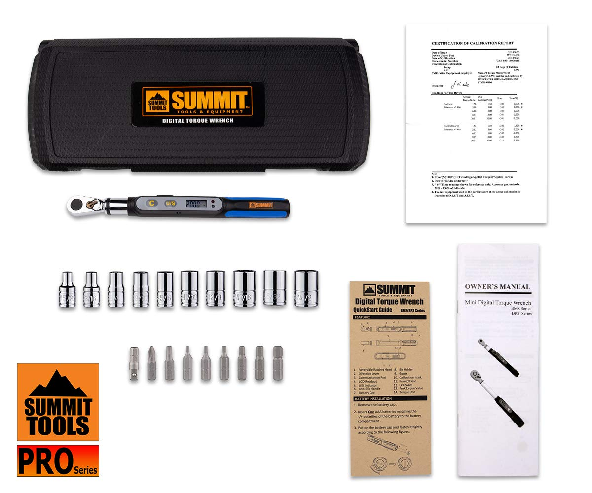 Summit Tools Mini Digital Torque Wrench (BMS2-020CN-S) with Bit Set, Peak Hold, LCD Display, Non Slip Grip, 1/4 in. Drive Adopter. 0.74-14.75 ft-lbs Torque Range, Bike Tool Set with Storage Case by Summit Tools (Image #6)