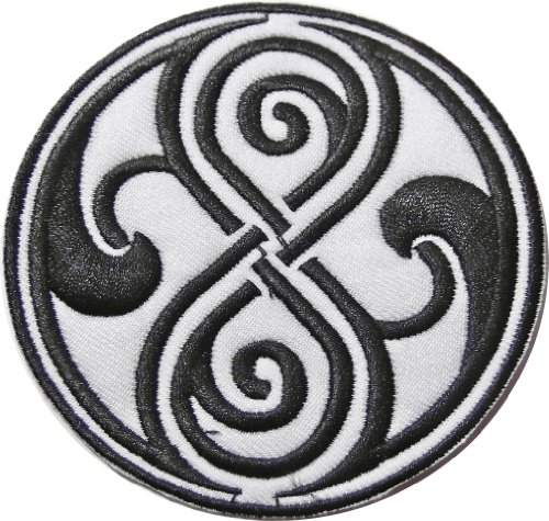 """UPC 682440903495, Doctor Who SEAL OF RASSILON Black on White 3 1/2"""" Diameter Embroidered PATCH"""