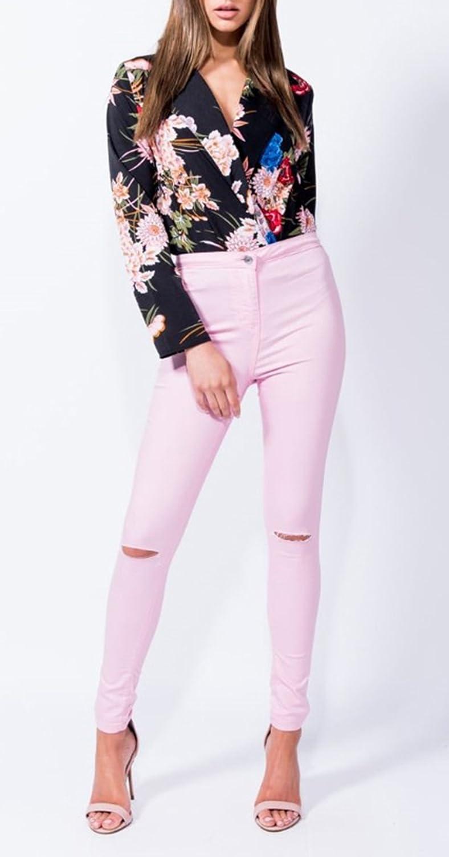 Leezeshaw Women Multicolor Floral Print Long Sleeve Tailored Collar Bodysuit Casual Blouse