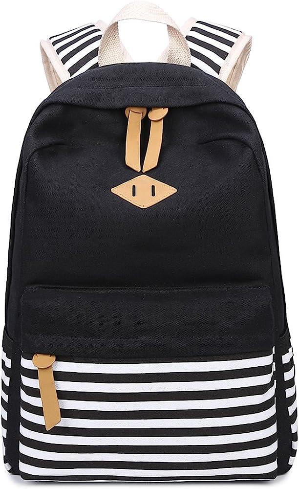 Lightweight Canvas Backpack Cute Stripe School Bookbag Teen Girls Women With 3