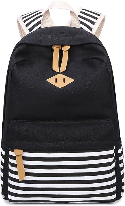 8a1097e1f97f Abshoo Causal Canvas Stripe Backpack Cute Lightweight Teen Backpacks For Girls  School Bookbag (Black)