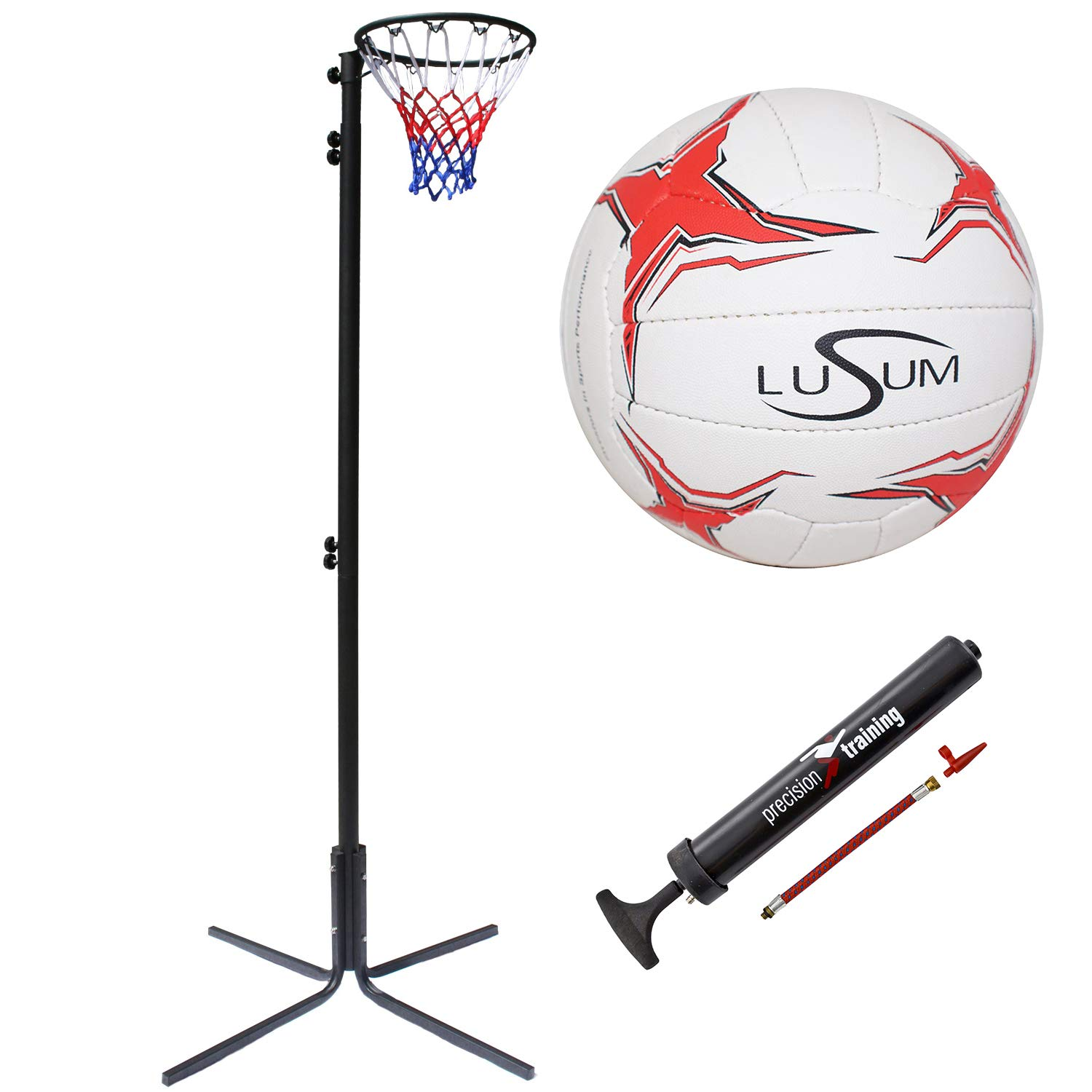 Lusum Optio Netball with Pump 7/' to 10/' Bee-Ball Freestanding Netball Post Package Official Height Adjustable Stand from 2.25 to 3.05 meters