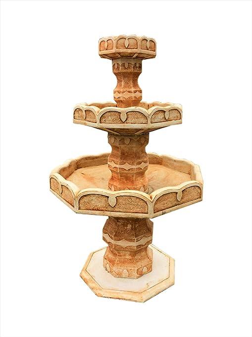 Fuente de piedra de diseño antiguo, para cascada, terracota, fuente decorativa, fuente de agua, fuente de jardín: Amazon.es: Jardín