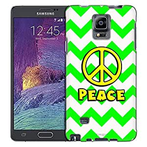 Samsung Galaxy Note 4 Case, Slim Fit Snap On Cover by Trek Peace on Chevron Green White Slim Case