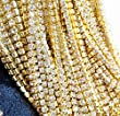 Aketek 10 Yard Crystal Rhinestone Close Chain Clear Trim Sewing Craft 2mm Gold color